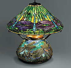 Dragonfly Lamp, shade designed by Clara Driscoll